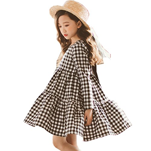 Girls Dresses, L'ananas Spring Autumn Kids Cute Bowknot Black White Plaid Long Sleeve Draped A-Line Dress (7-8 Years/150CM, Black+White)