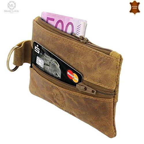 Monte Lovis Portemonnaie Robuste Schlüsseltasche mit Geldfach aus echtem Leder