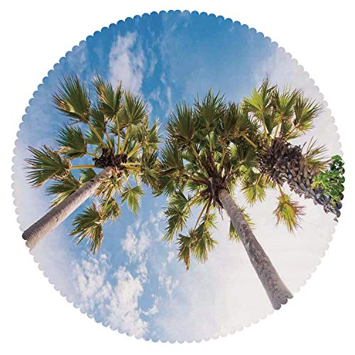 iPrint Round Tablecloth [ Nature,Palm Tree at Phromthep Cape Phuket Thailand with Summer Sky View Holiday Picture,Blue Green ] Fabric Kids Home Tablecloth Designs