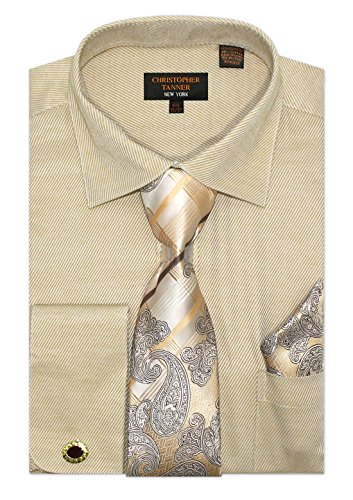 (Christopher Tanner Men's Regular Fit Dress Shirts with Tie & Hankerchief Cufflinks Combo Twill Pattern 18.5