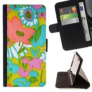 For HTC One A9 Case , Patrón de Arte Textil madre de la mamá de Verano- la tarjeta de Crédito Slots PU Funda de cuero Monedero caso cubierta de piel