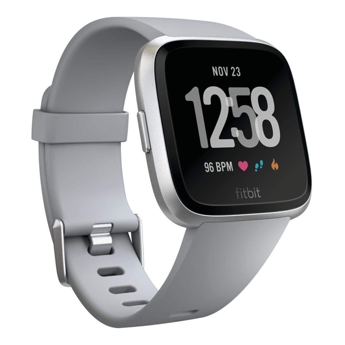 Fitbit Versa Smart Watch, Gray/Silver Aluminium, One Size (S & L Bands Included) by Fitbit
