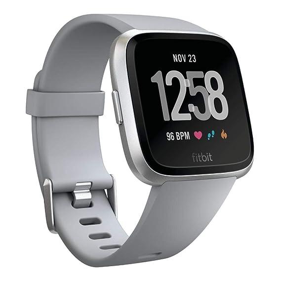 502c8433c68e Amazon.com: Fitbit Versa Smart Watch, Gray/Silver Aluminium, One ...