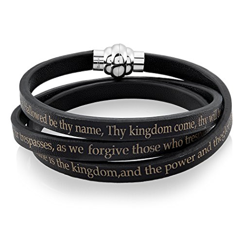 Stainless Steel Lord's Prayer Wrap Leather Bracelet (6.5 mm) (Chritian Religious Cross)
