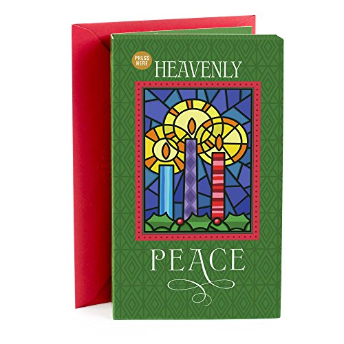 Hallmark Christmas Greeting Card Light and Song Card (Stained Glass Candles)