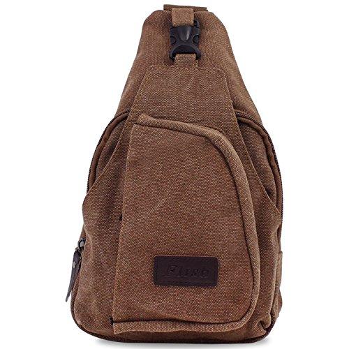 PsmGoods® hombres hombro bolsa de viaje Ocio bolsillo de la lona Senderismo Mochila pecho bolsa Sling Coffee Large