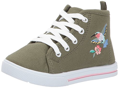 Carter's Girls' Ginger3 Novelty High-Top Casual Mary Jane Flat, Green, 11 M US Little Kid (High Mary Jane Top)