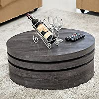 coffee table contemporary round rotating 3 layers