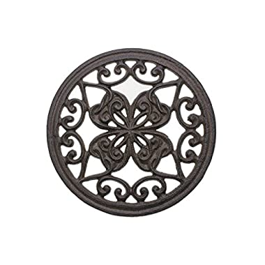 Cast Iron Trivet | Round with Vintage Pattern | Decorative Cast Iron Trivet For Kitchen Or Dining Table | 7   Diameter | With Rubber Pegs | by Comfify CA-1504-07-BR