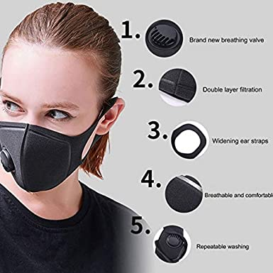 Prevent Dust Contact and Transmission Breathable for Outdoor Sports Gokeop 1PCS Blue Cotton with 2 Vent Valves and 2 Filter Pads Filter The Breathing Air and Protect Mouth Nose