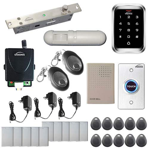 Visionis FPC-5482 One Door Access Control 2,200 Electric Drop Bolt Fail Secure Time Delay VIS-3000 Outdoor IP68 Keypad/Reader EM Mifare Compatible No software 000 Users Wireless Receiver PIR Kit