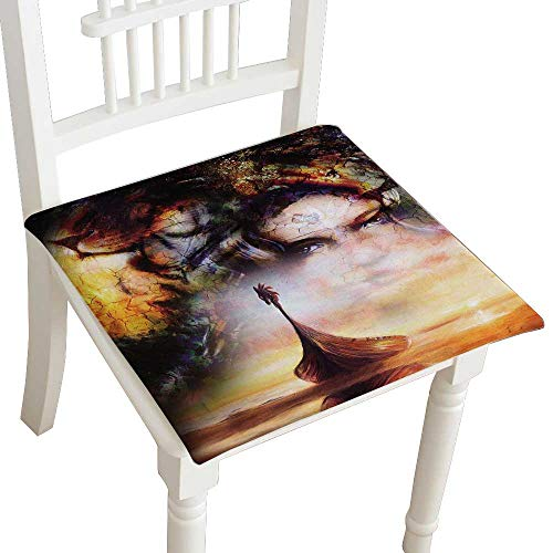 Pad Head Reclining Bath Chairs - HuaWuhome Dining Chair Pad Cushion Viking Boat on The Beach and Lion Head Collage on Canvas Boat withwood Dragon Fashions Indoor/Outdoor Bistro Chair Cushion 30