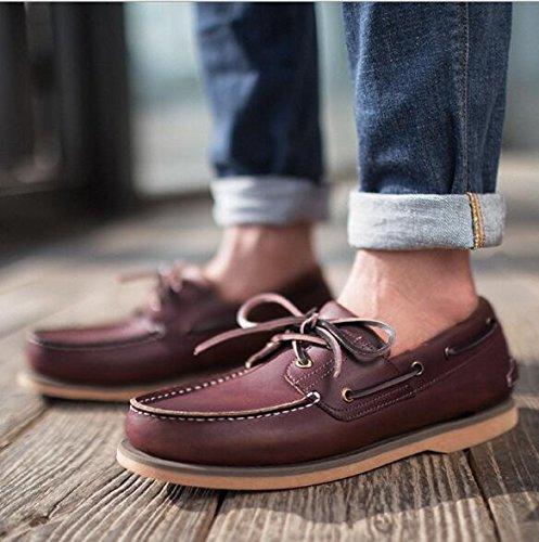 Happyshop Tm Mens Äkta Läder Slip-on Dagdrivare Båt Skor Engelska Mode Skor Bivax Färg