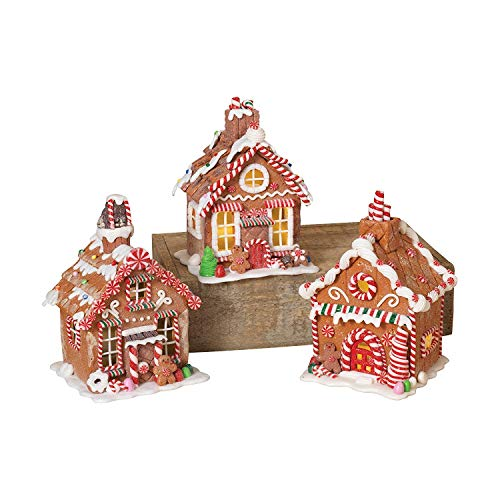 Clay Gingerbread - Gerson 7 Inches High Lighted Battery Operated Clay Dough Christmas Gingerbread Houses, 3 Assorted