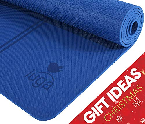 "IUGA TPE Yoga Mat, Extra Thick 7mm, Middle Stripes for Alignment Reminding, Free Quality Carry Strap, 100% TPE Material - Excellent Cushion, Anti-Skid and Light-Weight, Size 72""X26"" (Dark Blue)"