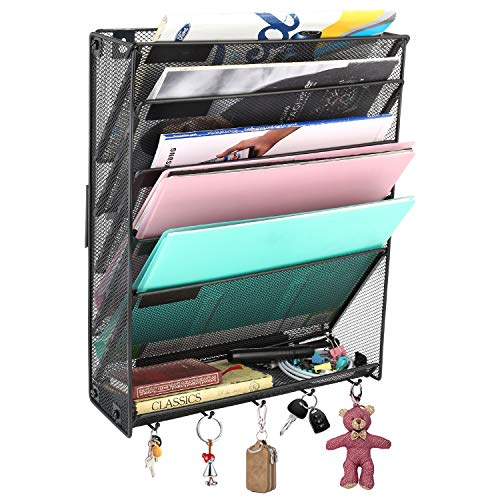 Veesun Wall File Holder Organizer for Office, Hanging Metal Magazine Rack Holder Organizer,Black (Magazine Pocket Vertical Rack)