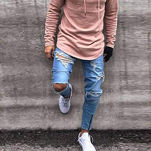 Uomo Distressed Frayed Colour Casual Skinny Hole Slim Zipper Pantaloni Haidean Biker Jeans Rip Moderna Pants Mens pHqCSwd