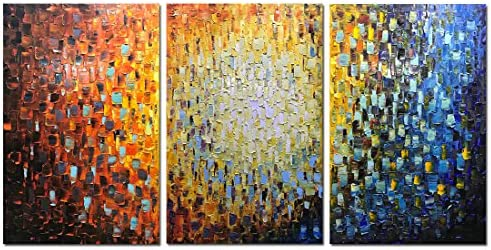 Metuu Paintings, 24x36Inchx3 Paintings Oil Hand Painting 3D Hand-Painted On Canvas Abstract Artwork Framed Ready to Hang for Living Room,Dinning Room, Bedroom