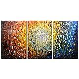 Metuu Paintings, 24x36inchx3 Pinturas Pintura a mano al óleo pintada a mano en 3D sobre lienzo Arte abstracto enmarcado listo para colgar para sala de estar, comedor, dormitorio