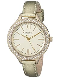 CARAVELLE NEW YORK Women's 44L131 Gold Leather Watch
