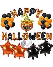 Halloweenballonger, 38 stycken halloween dekoration halloween ballonger dekoration, innehåller pumpa, latexballong, aluminiumfoliestjärnor, för halloween festdekoration