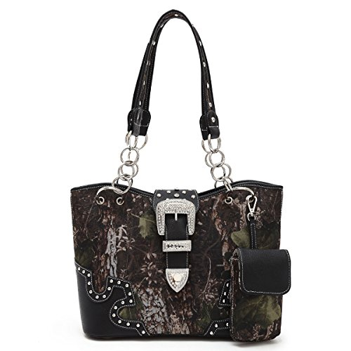 Black Trim Camo Bling Designer Chain Purse Concealed Carry Import