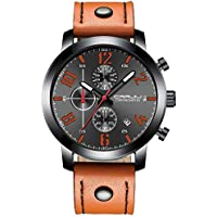 CRRJU Men's Business Casual Chronograph Quartz Black Leather Strap Waterproof Wristwatch