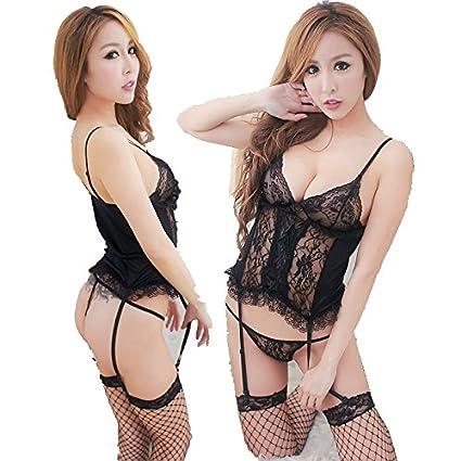 fe9da5dacbb1 GR HQ8957 Conjunto de lencería de Encaje Sexy para Mujer Ropa ...