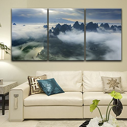 3 Panel Bird View Landscape of Mountains Rivers and Village from Above The Clouds x 3 Panels