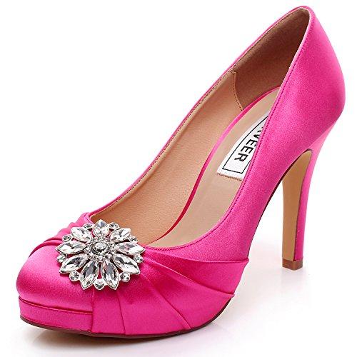 LUXVEER High Heel Women Shoes Satin Wedding With Rhinestone Bridal Dress Sheos Hot Pink 45 Inch RS 9805 EU39