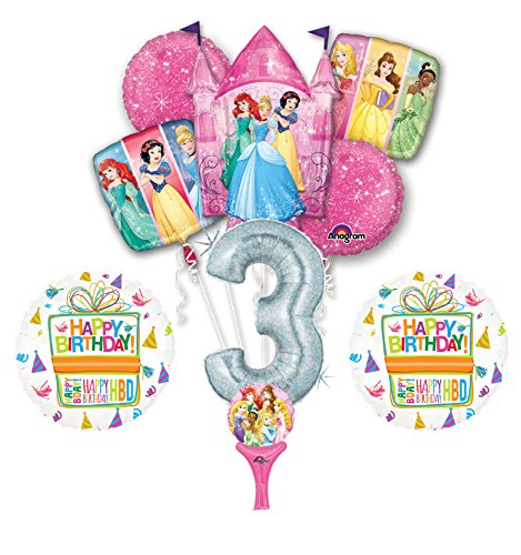 New! 9pc Disney Princess 3rd BIRTHDAY PARTY Balloons Decorations Supplies]()