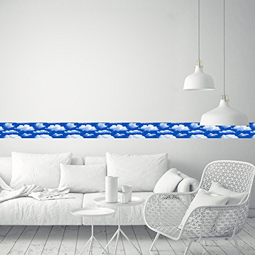 CaseFan Wallpaper Border Home Decor White Clouds for Livingroom Removable Vinyl Peel and Stick Wall Border Waist Line