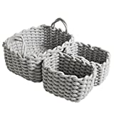 CutieUnion Cotton Woven Storage Baskets with Dual Rope Handles for Toy Storage Durable Nursery Bins(3 Pack,Grey)