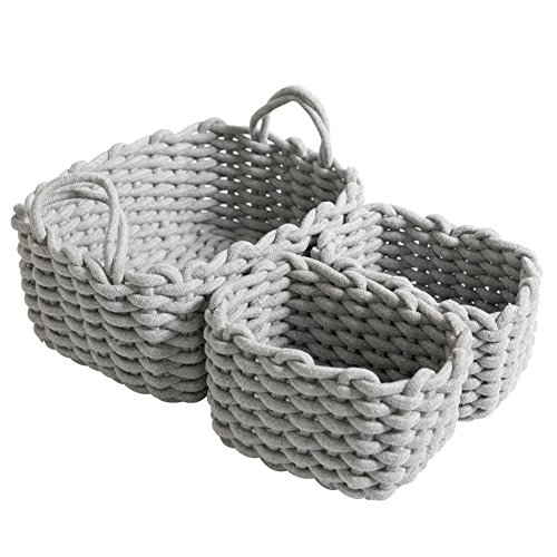 CutieUnion Cotton Woven Storage Baskets with Dual Rope Handles for Toy Storage Durable Nursery Bins(3 Pack,Grey) by Cutieunion