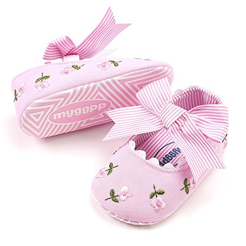 LanhuiBaby Girl Embroidery Flower Fashion Toddler First Walkers Canvas Kid Shoes (Pink, 0-6Months)