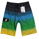 NUWFOR Men's Fashion Casual Printing Patchwork Beach Surfing Swimming Loose Short Pants(Green,US M Waist:33.9'')