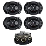 Kenwood 6 x 9'' 650W 5-Way Coaxial Speakers, 2 Pairs + Amp Distribution Block