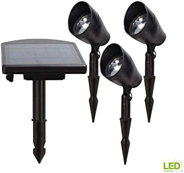 Solar Powered Black Outdoor Integrated Led 3000k Warm White Landscape Spot Light Kit With Remote Pan Amazon Com