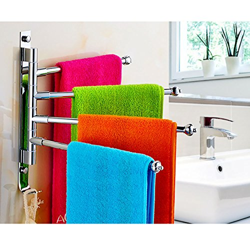 Wall Mounted Stainless Steel Towel Holder Bathroom Kitchen Towel Rack with Hook Design 4-Arm With Two Hooks Lightweight Rack (4-bars) - - Amazon.com