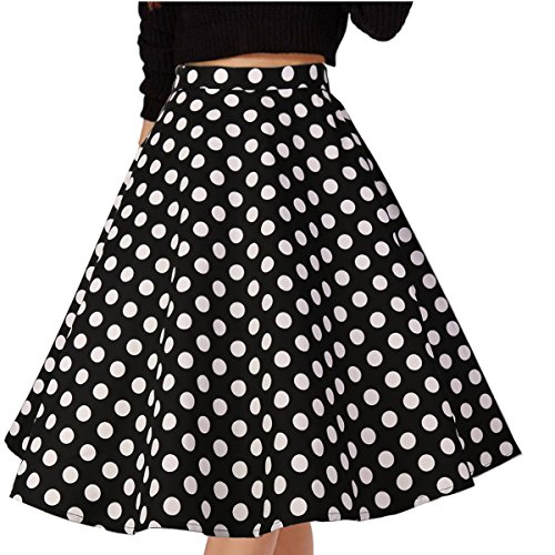 (Musever Women's Pleated Vintage Skirts Floral Print Casual Midi Skirt Style 4 XXL)
