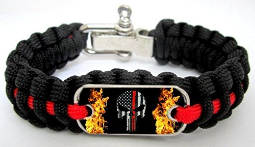 Firefighter Fireman Thin Red Line Punisher Flag Flames Paracord Survival Bracelet (8.5