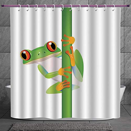 SCOCICI Unique Shower Curtain 2.0 [ Animal Decor,Graphic of Cute Frog Holding a Branch Rainforest Character in Wild Nature Life,Green Orange White ] Machine Washable,Shower Hooks are Included - Bb Set Rainforest Animals