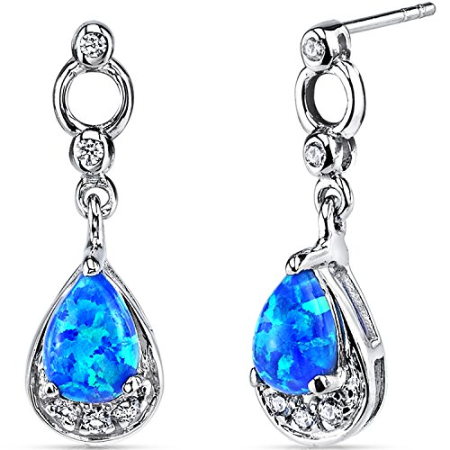 Created Blue Opal Dangling Earrings Sterling Silver Tear Drop