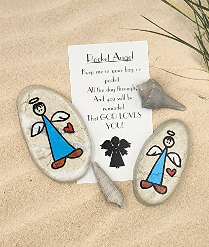 Pocket Guardian Angel BOY Painted Rock by Alleluia Rocks