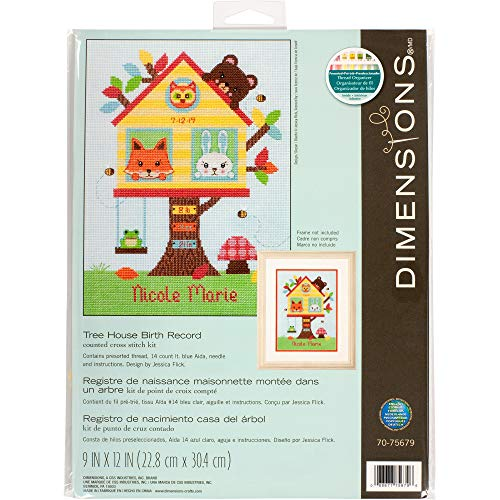 Dimensions Tree House Baby Birth Record Counted Cross Stitch Kit, 14 Count Light Blue Aida Cloth, 9'' x 12'' (Birth Trees)