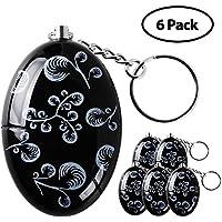 Lermende 120 dB Personal Alarm Keychain Emergency Safety Self Defense Keyring Batteries Included Black, 6pcs/Pack