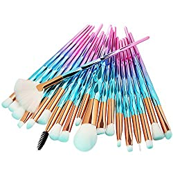 Jeeke 20Pc Makeup Brushes Set Powder Foundation Eyeshadow Eyeliner Lip Cosmetic Brush,Soft for Skin and Easy to Pick Up Powder