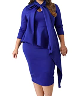 3a35ad8dd98 Lalagen Women s Plus Size Long Sleeve Peplum Tie Neck Bodycon Pencil Midi  Dress
