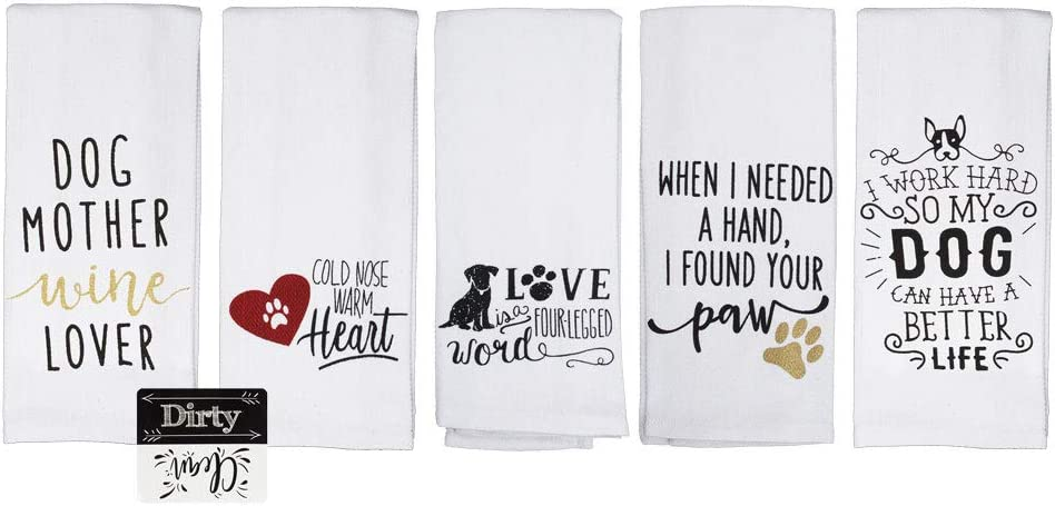 Cute Dog Kitchen Towels Dog Mother Wine Lover Paw Print Kitchen Towel Dog Lover Gift Set of 5