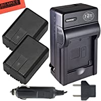 Pack Of 2 VW-VBK180 Batteries And battery Charger for Panasonic HC-V10 HC-V100 HC-V500 HC-V700 Camcorder